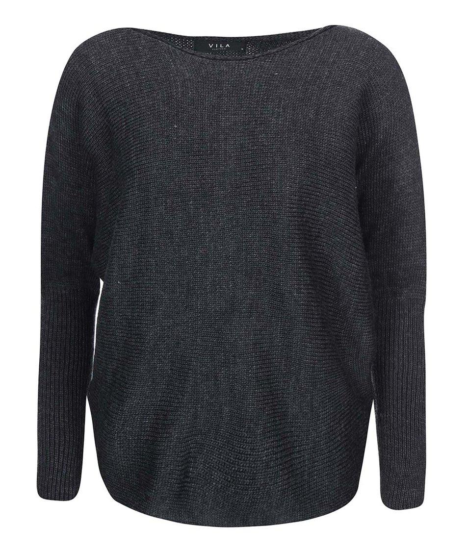 Tmavě šedý volnější svetr VILA Serva