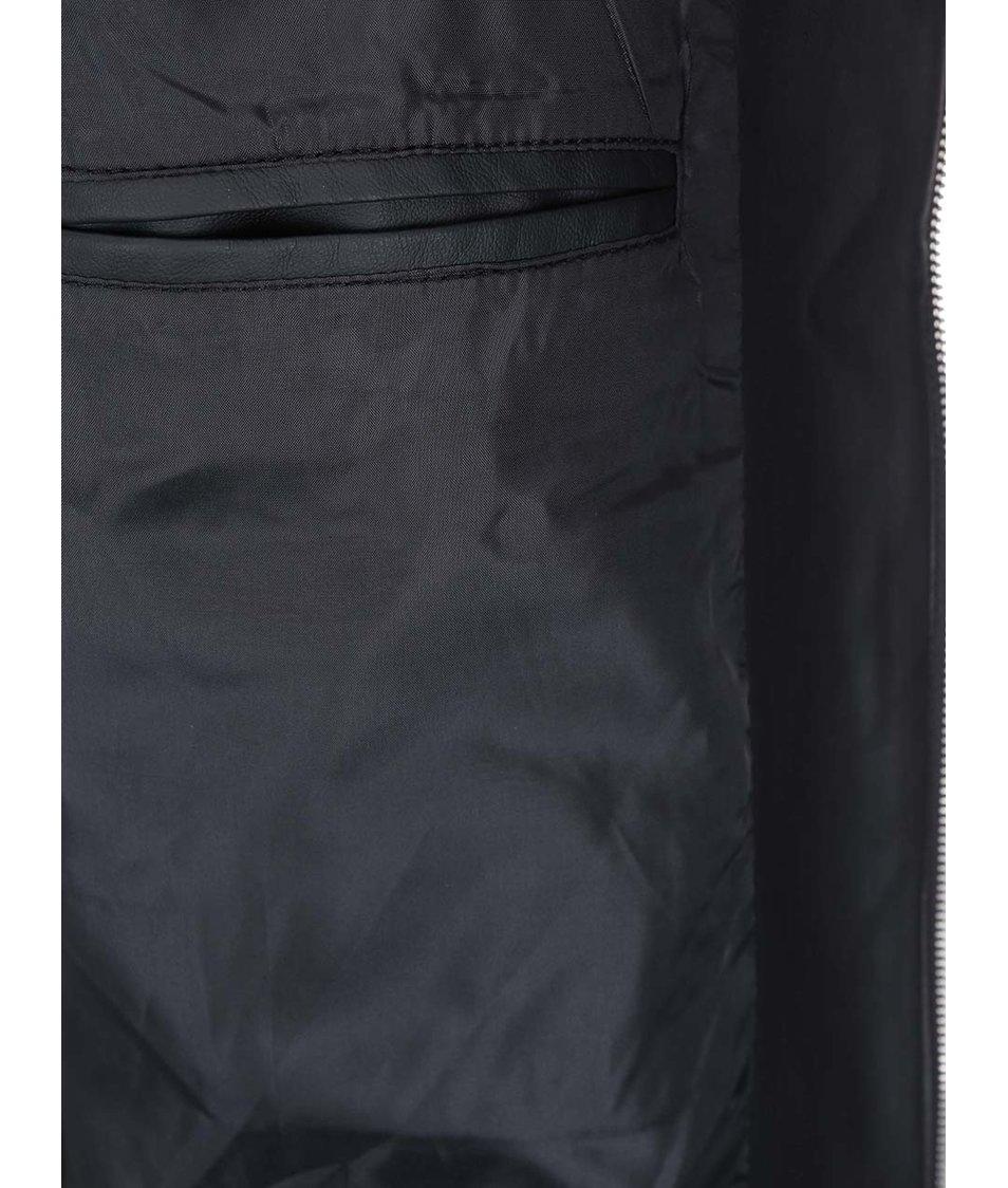 Černá koženková bunda s kapucí D-Struct Beven