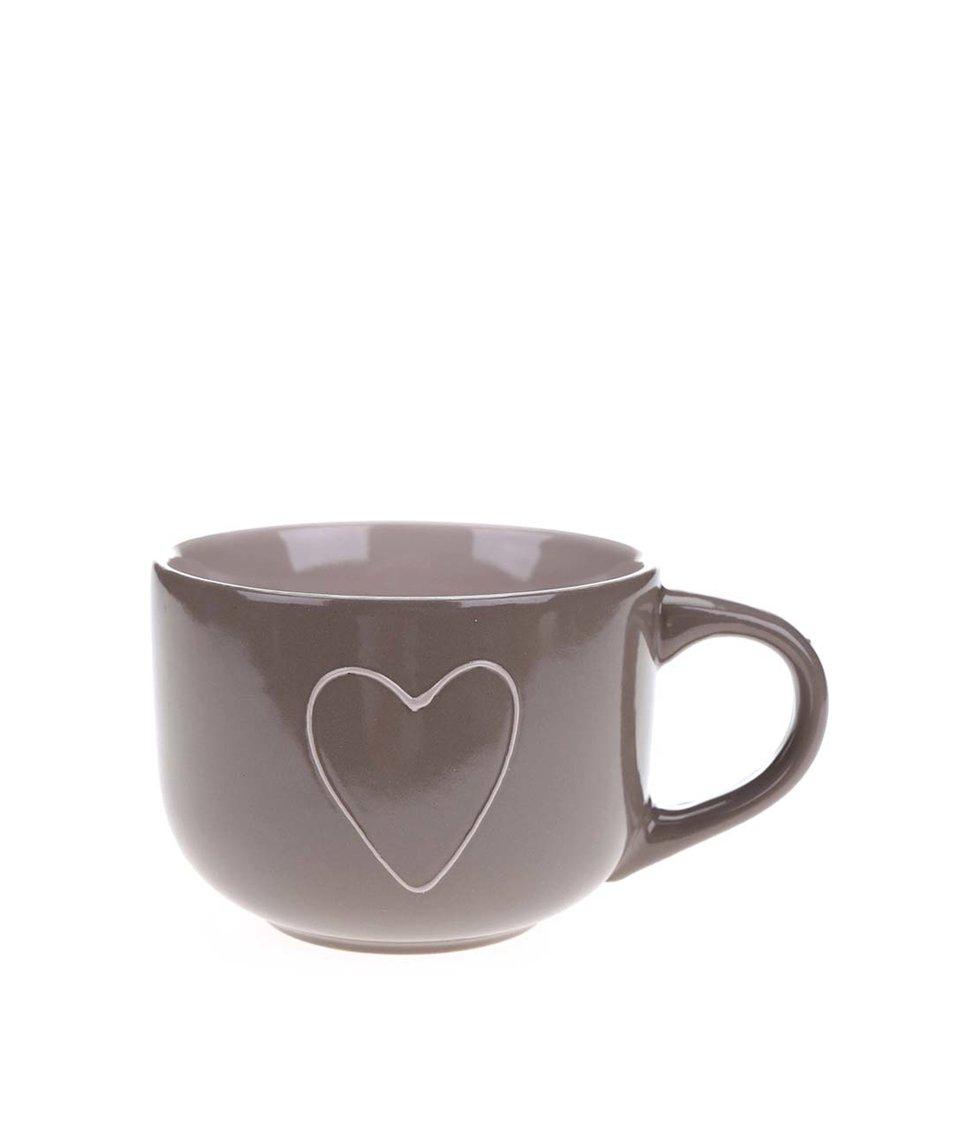 Krémovo-hnědý keramický hrnek se srdcem Dakls