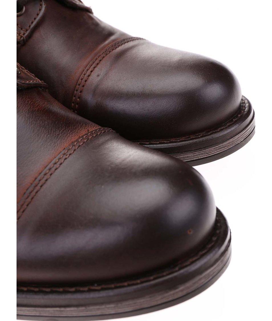 Hnědé kožené kotníkové boty s přezkou Jack & Jones Albany