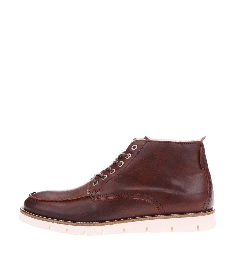 Hnědé kožené kotníkové boty s kožíškem Jack & Jones Kingston