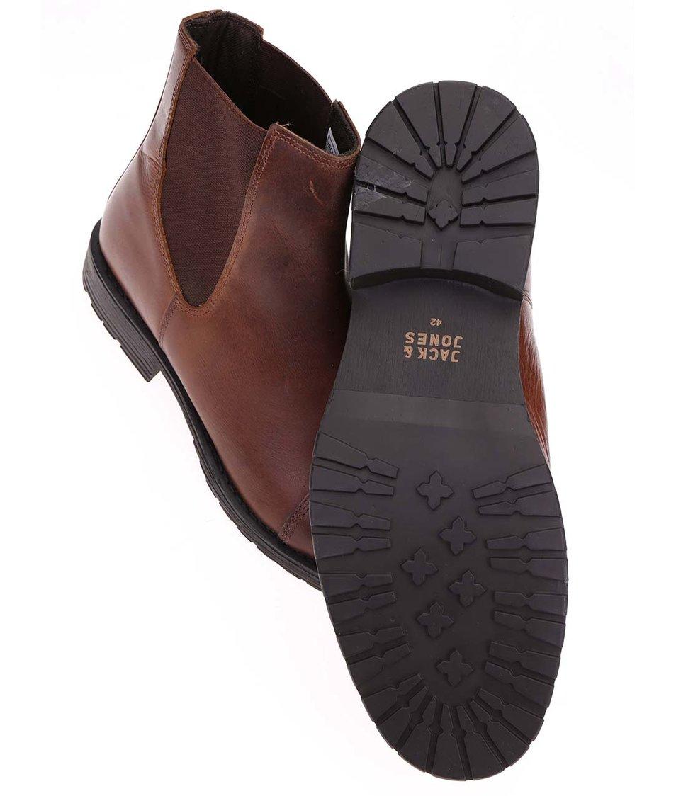 Hnědé kožené chelsea boty Jack & Jones Radnor
