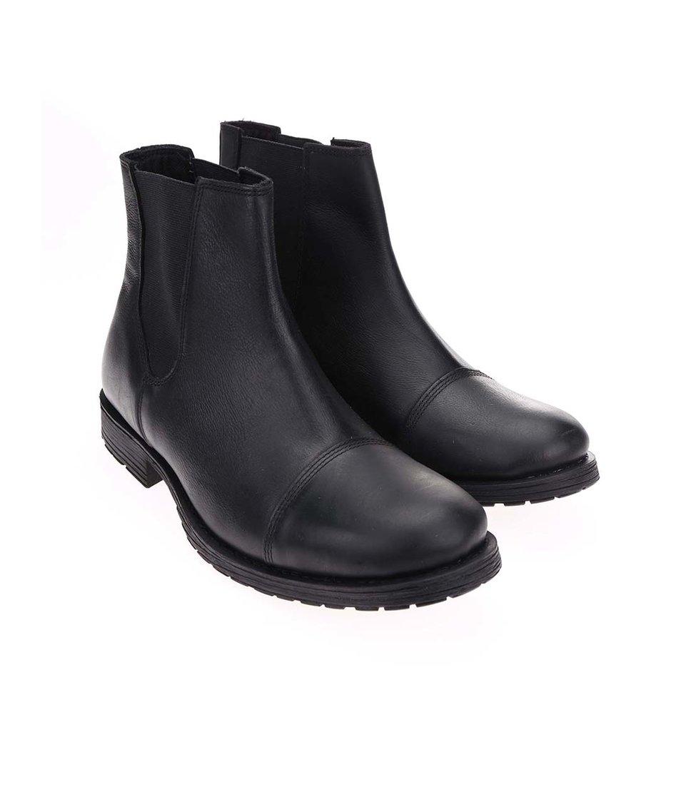 Černé kožené chelsea boty Jack & Jones Radnor
