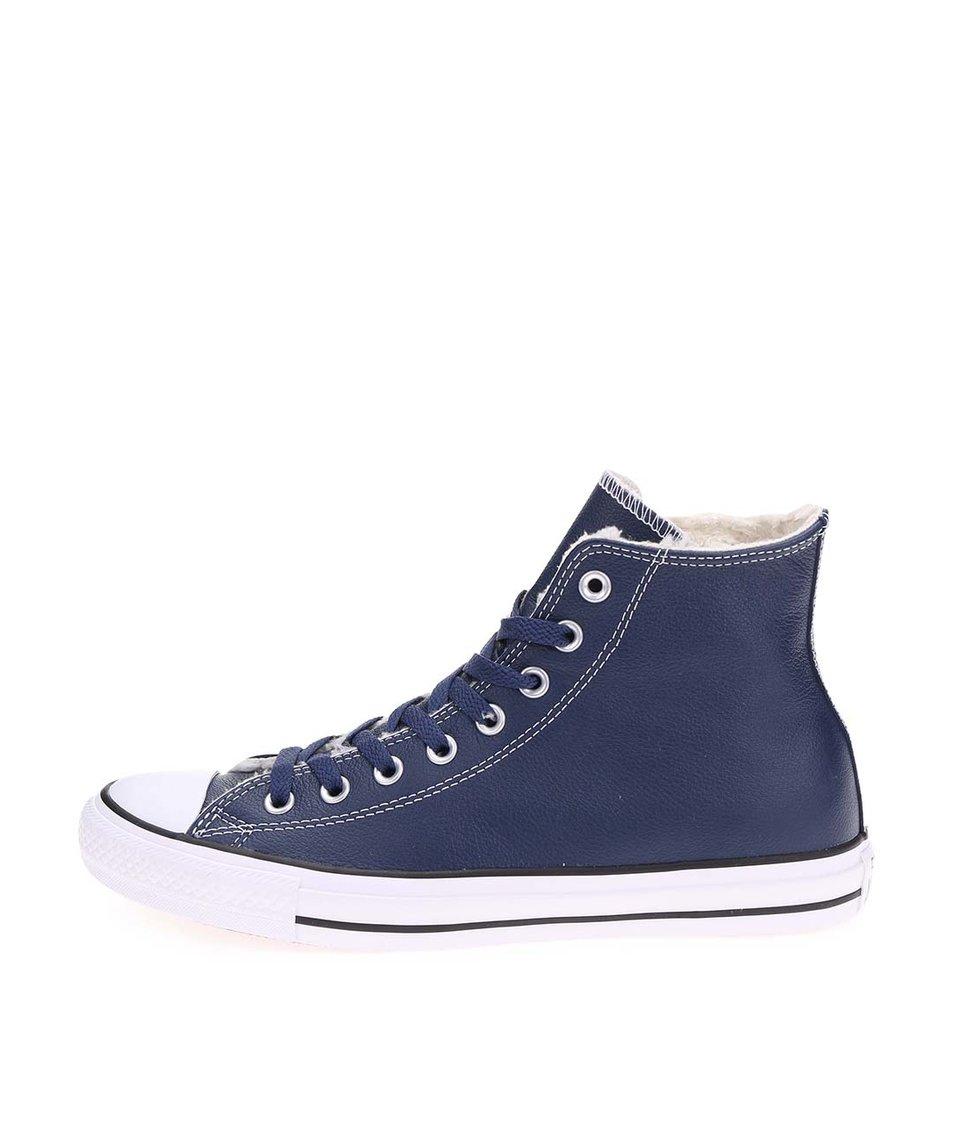 Tmavě modré pánské kožené kotníkové tenisky Converse Chuck Taylor All Star