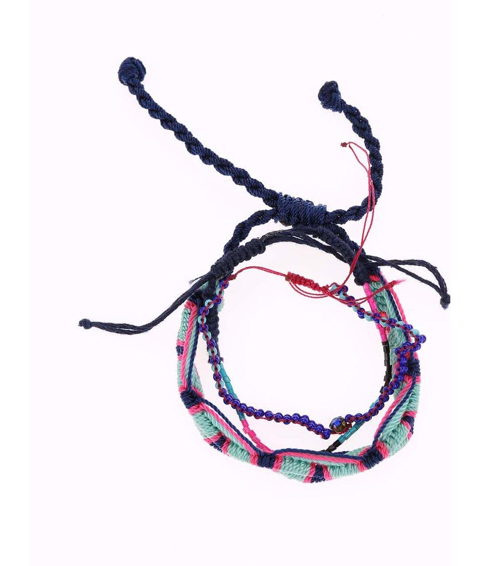 Tyrkysový pletený náramek s korálky Pieces Gyma