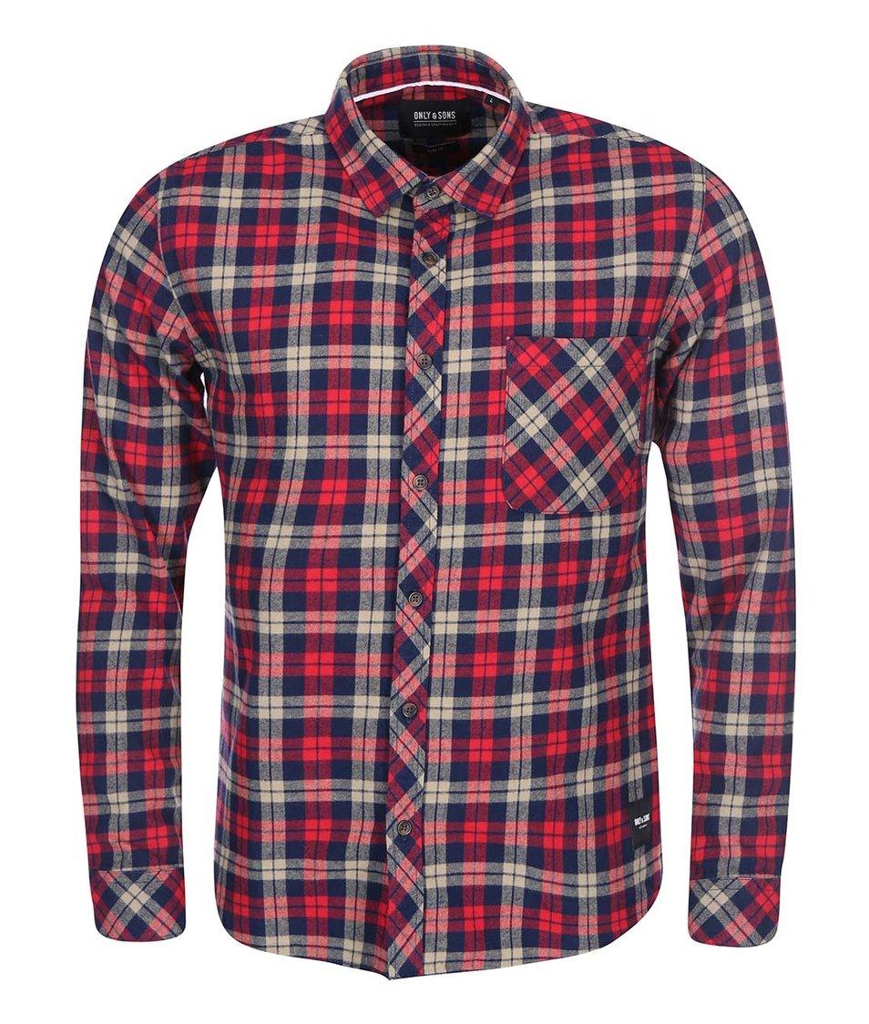 Modro-červená kostkovaná košile ONLY & SONS Carstem