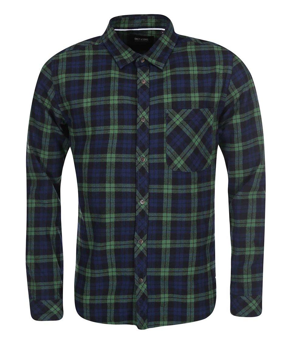 Zeleno-modrá kostkovaná košile ONLY & SONS Carstem
