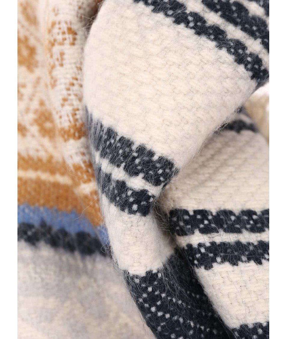 Vzorovaná velká šála s hnědým detailem Pieces Rosenna