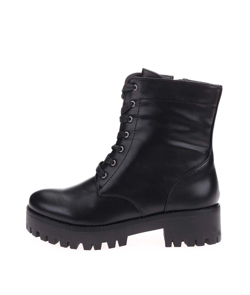 Černé kotníkové boty Pieces Vara