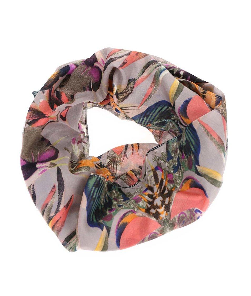 Šedý dutý šátek s barevnými vzory Pieces Palis