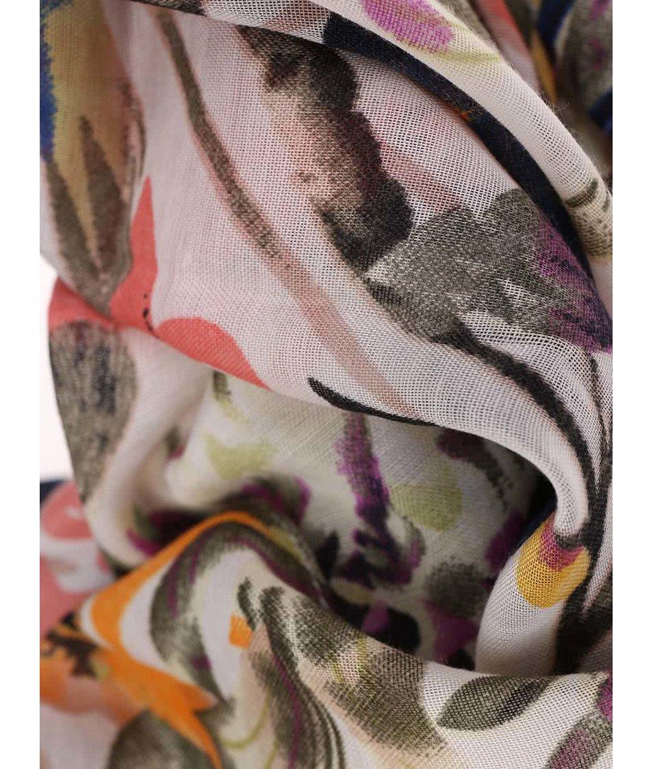Krémový dutý šátek s barevnými vzory Pieces Palis