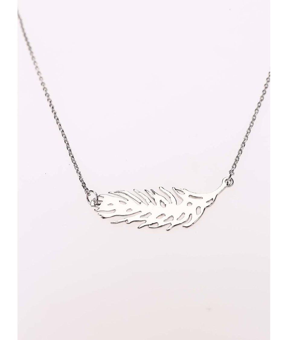 Náhrdelník ve stříbrné barvě s pírkem Pieces Yna
