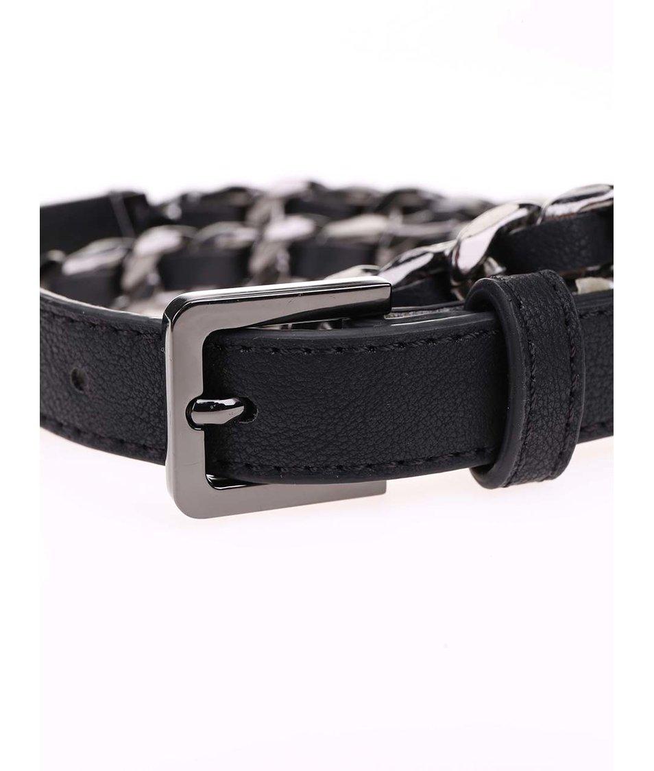 Černý pásek proplétaný řetízkem v šedé barvě Pieces Rapunzel