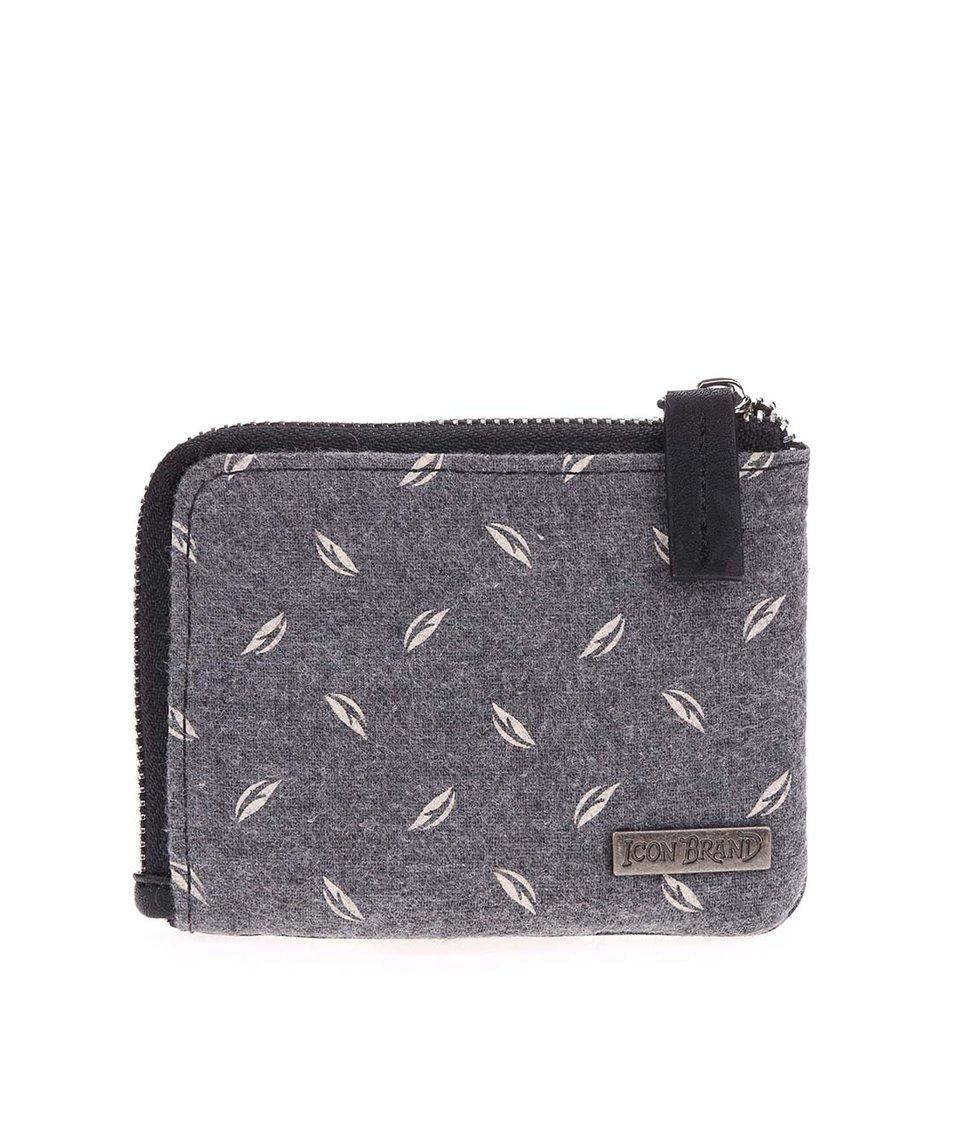 Černo-šedá vzorovaná peněženka Icon Brand Peso