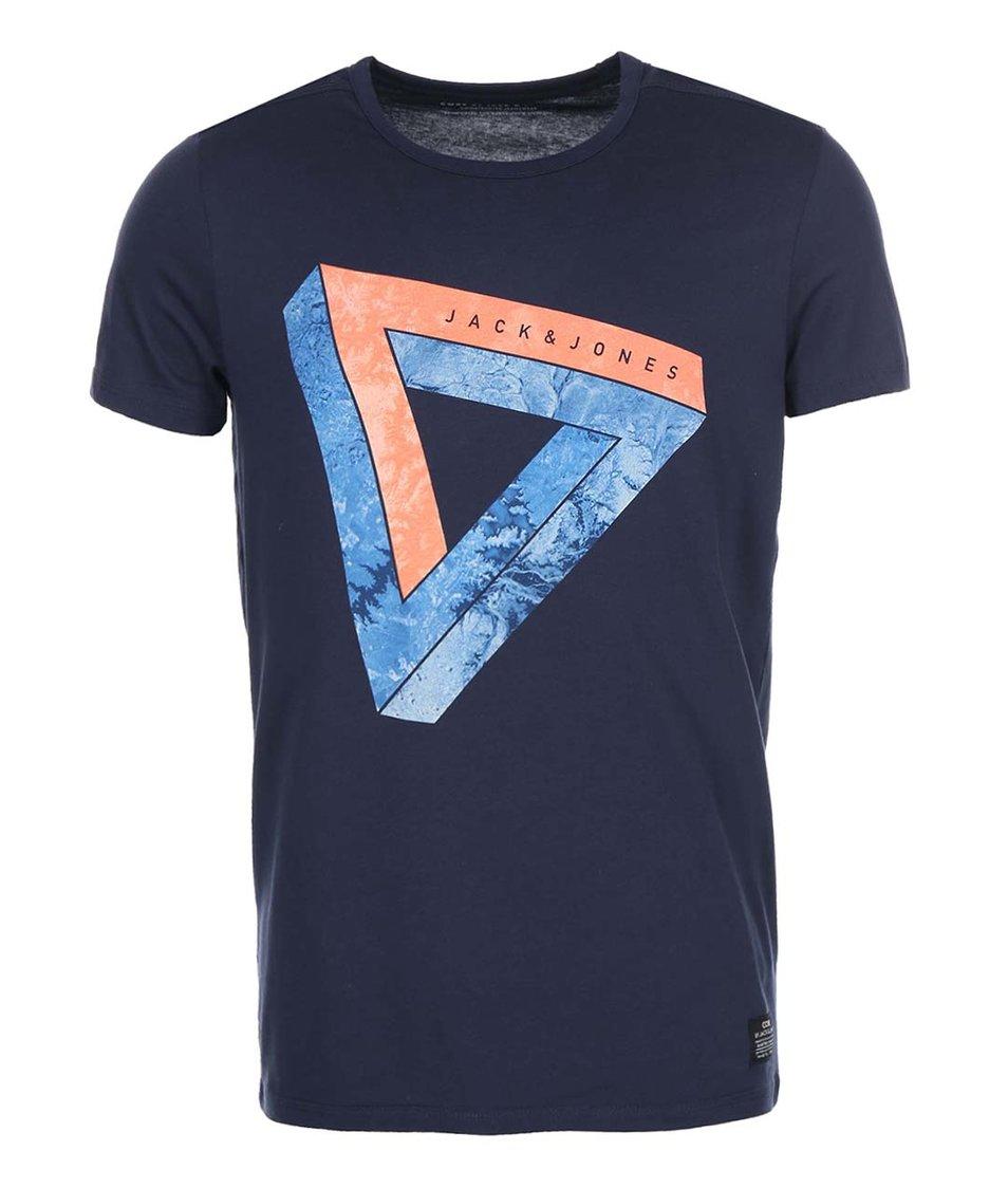 Tmavě modré triko s potiskem Jack & Jones Well