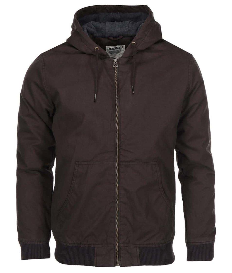 Hnědá kratší bunda s kapucí Jack & Jones High