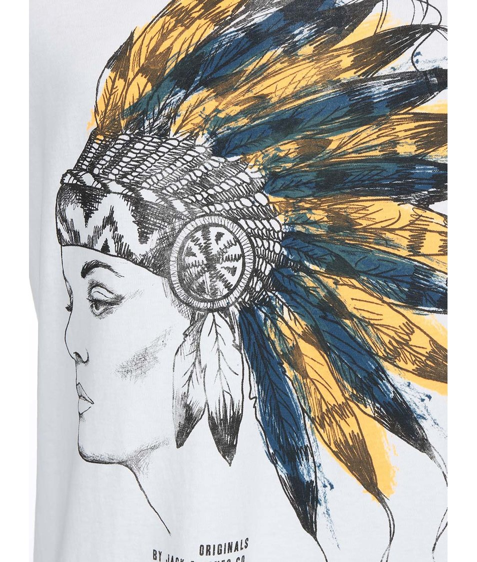 Krémové triko s potiskem indiánky Jack & Jones Zero