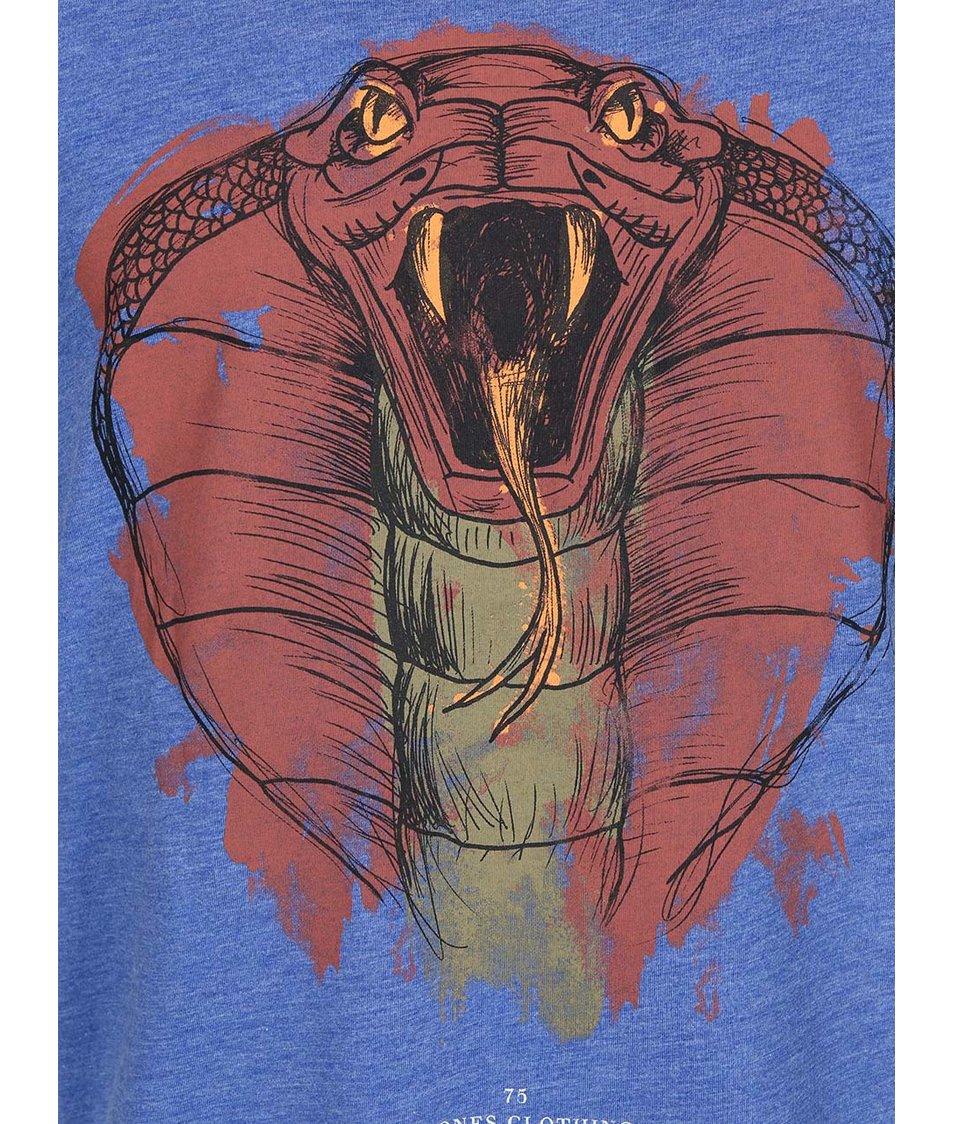 Modré triko s potiskem hada Jack & Jones Zero