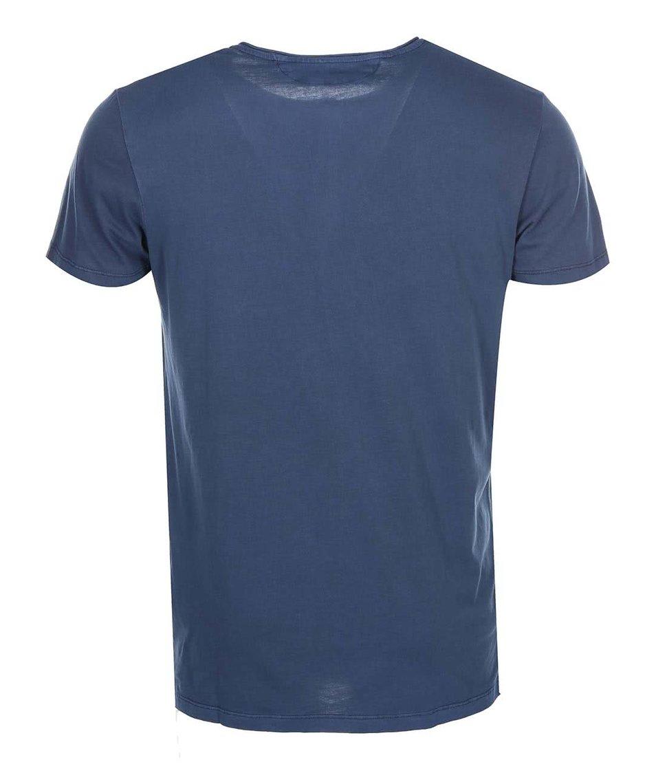 Tmavě modré triko s knoflíky Jack & Jones Ross