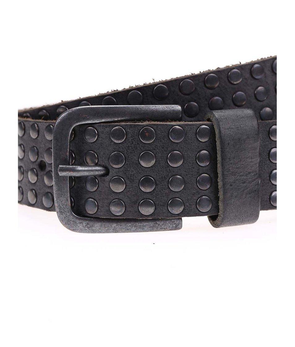 Černý kožený pásek s kovovými detaily Jack & Jones All Over