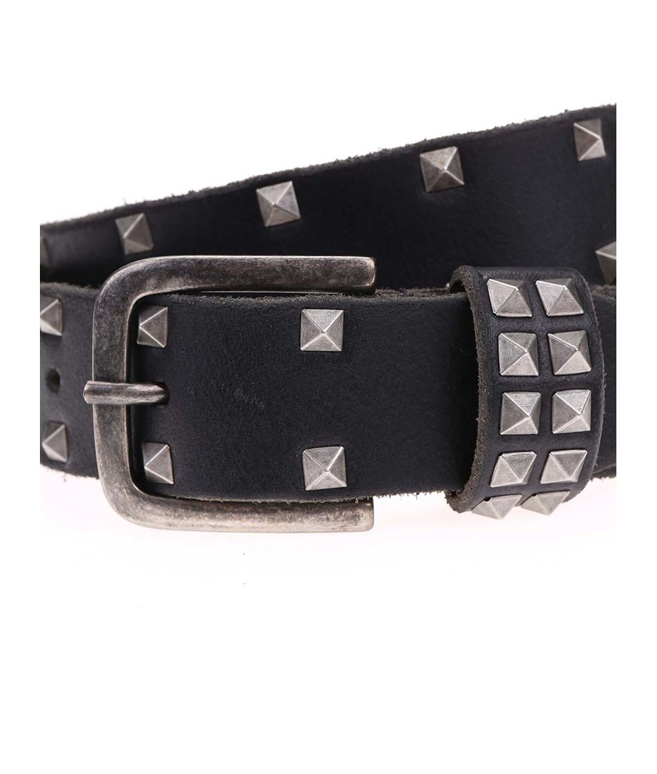 Černý kožený pásek s pyramidami Jack & Jones All Over