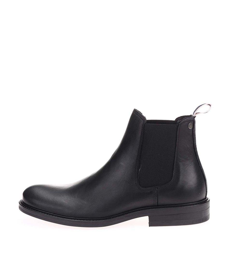 Černé kožené chelsea boty Jack & Jones Paul