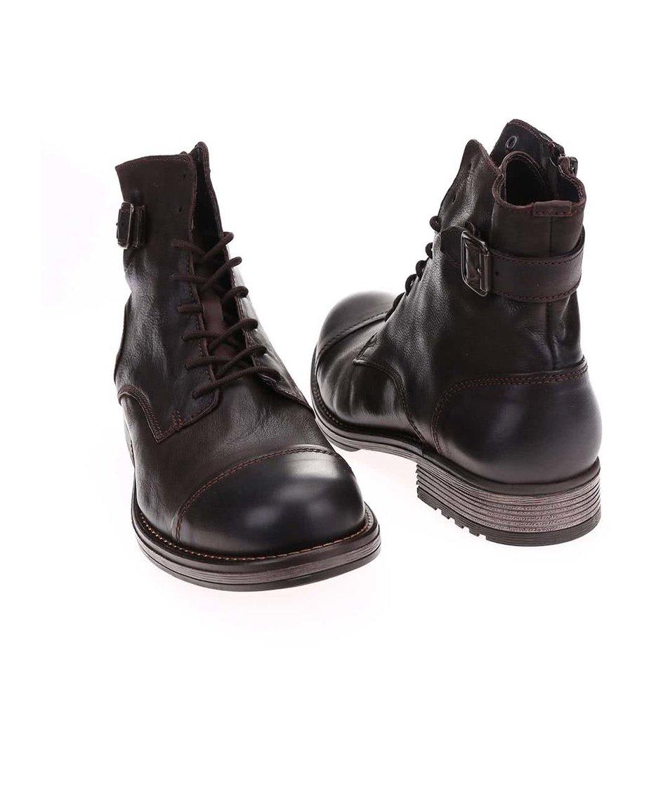 Tmavě hnědé kožené kotníkové boty s přezkou Jack & Jones Siti