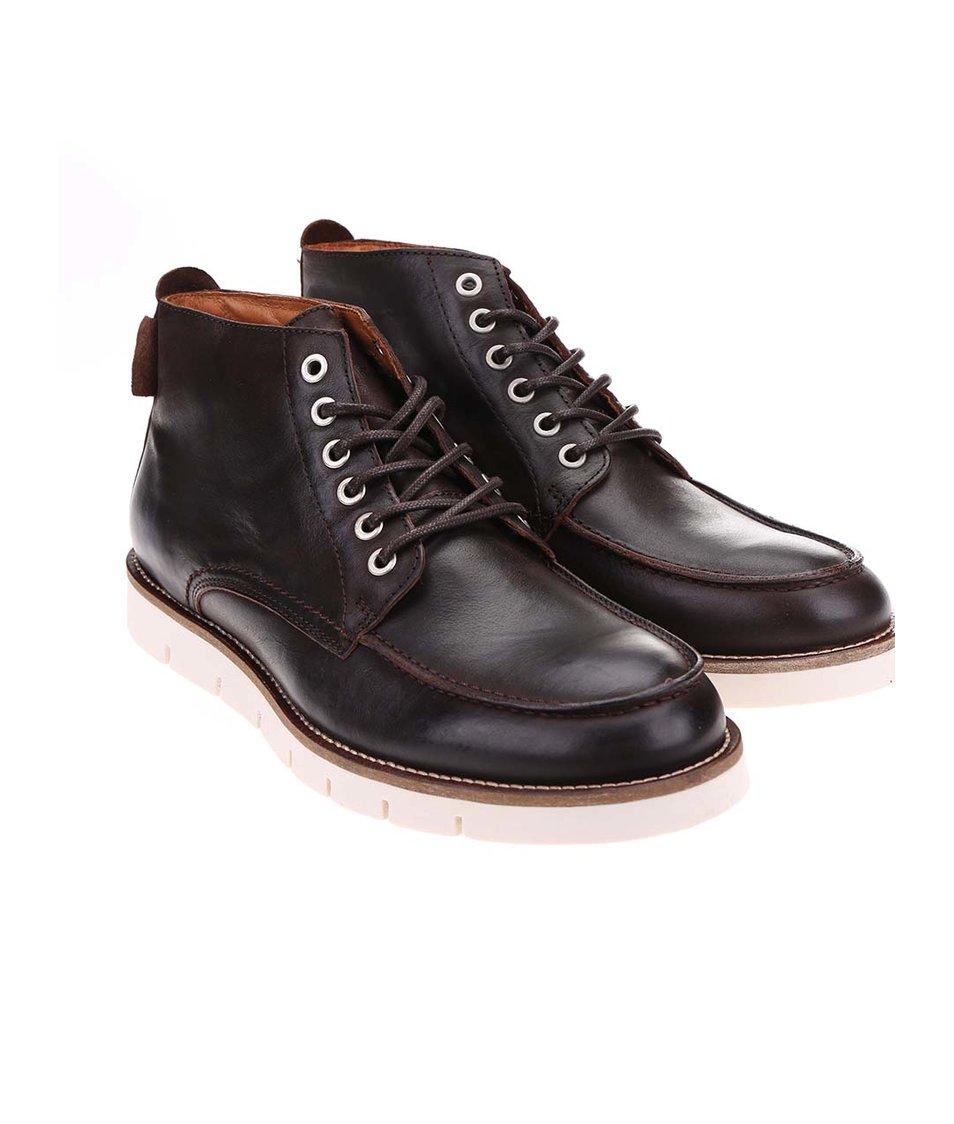 Tmavě hnědé kožené boty s krémovou podrážkou Jack & Jones Kingston