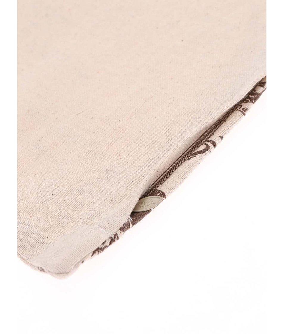 Béžový povlak na polštář s francouzskými motivy Dakls
