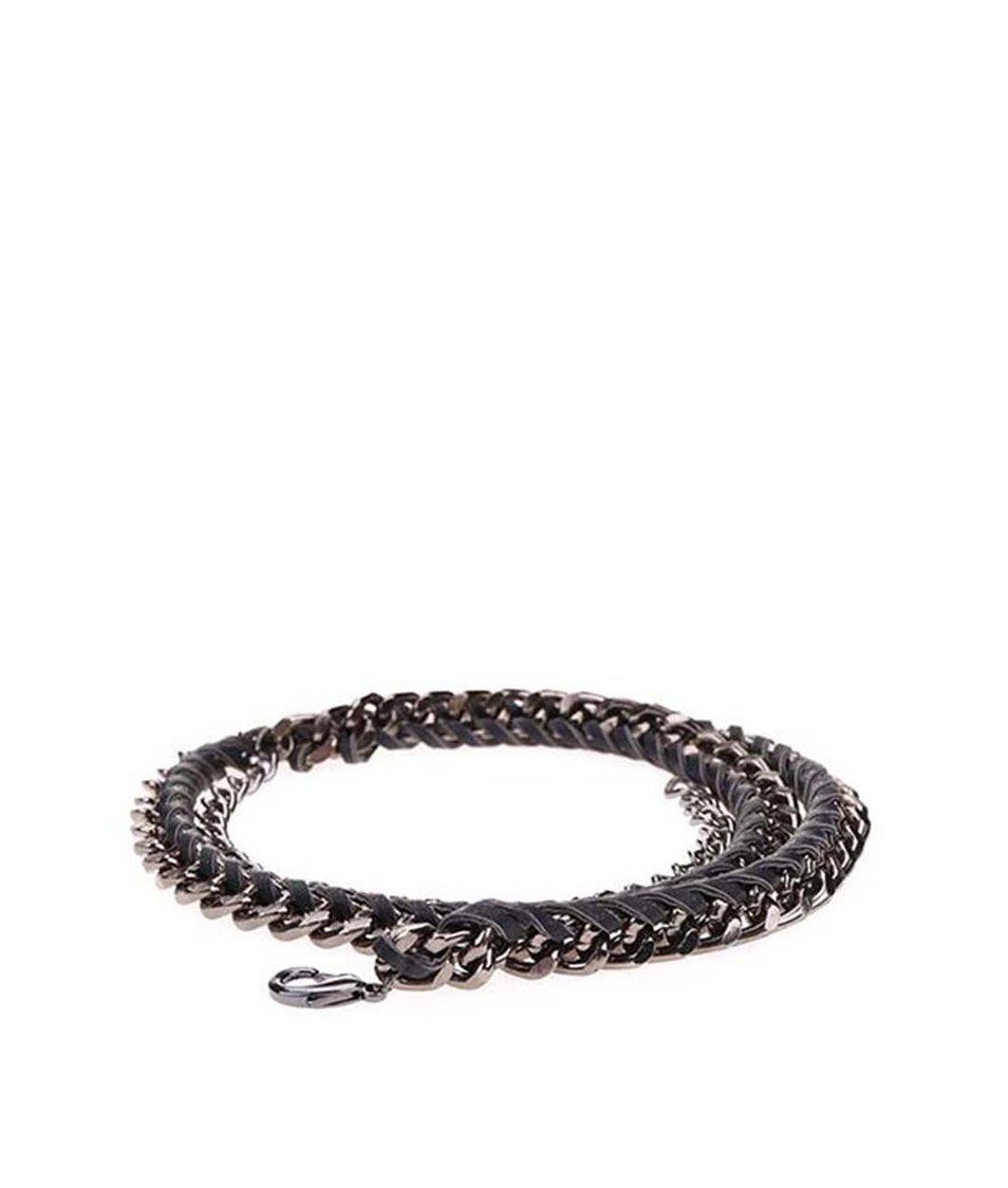 Černý úzký pásek s řetízkem v šedé barvě Pieces Rapunzel