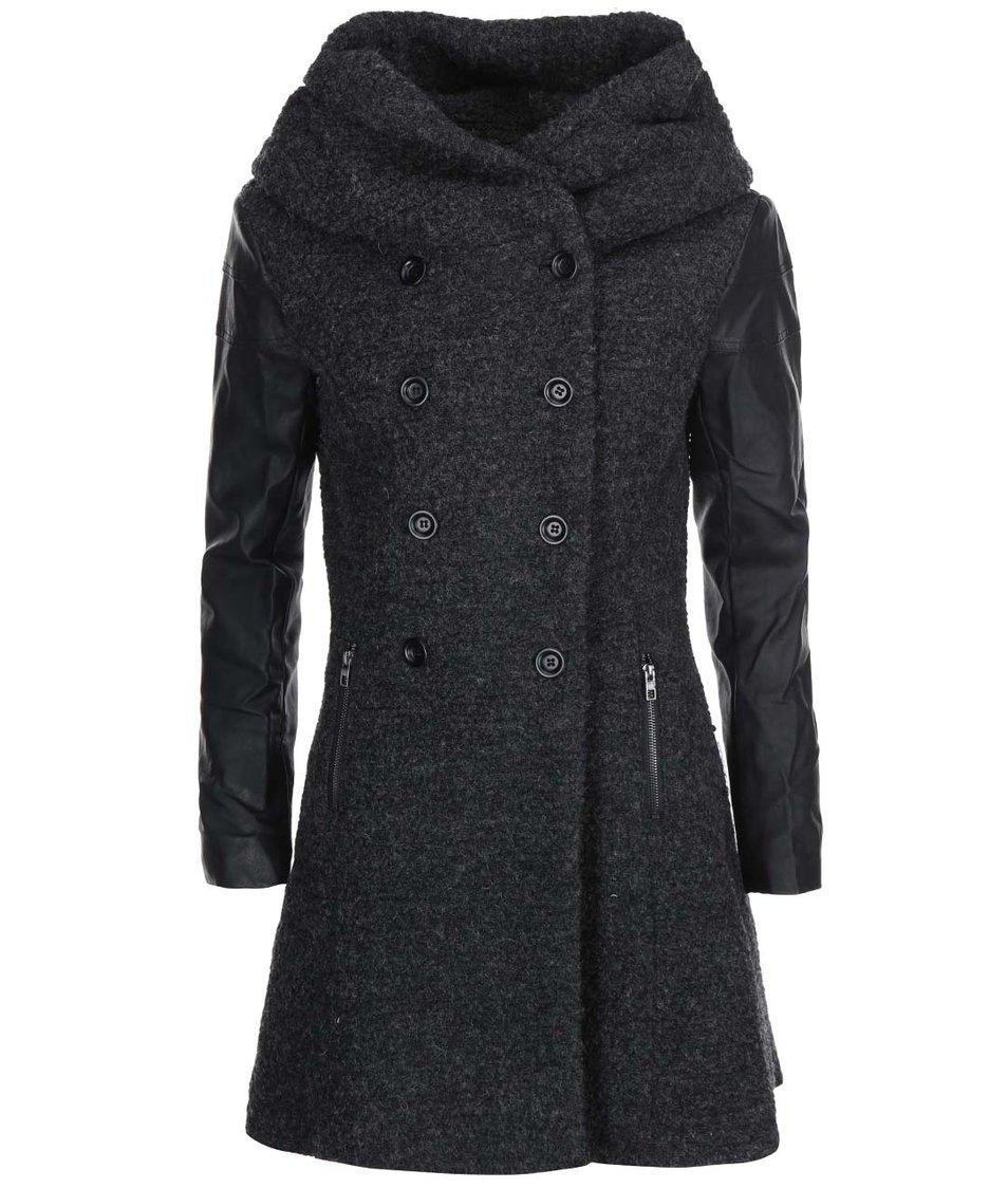 Tmavě šedý kabát s koženkovými rukávy ONLY Lisa