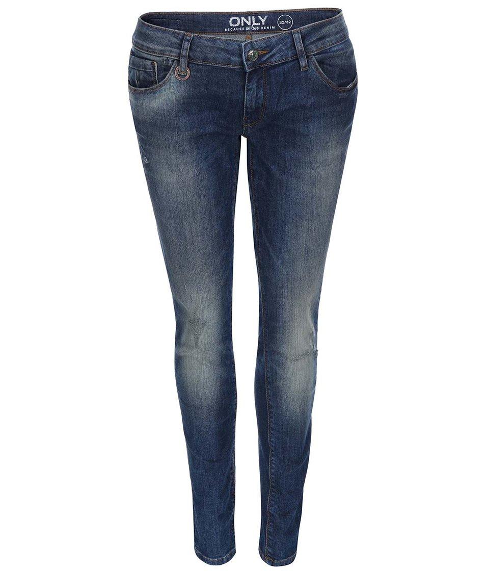 Modré skinny džíny s ošoupaným efektem ONLY Coral