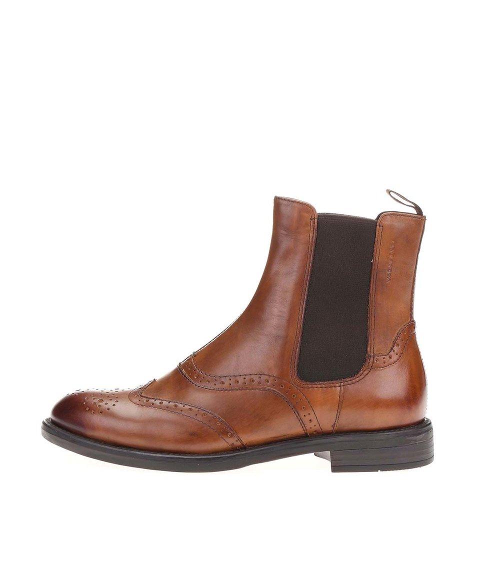 Hnědé dámské kožené chelsea boty Vagabond Amina