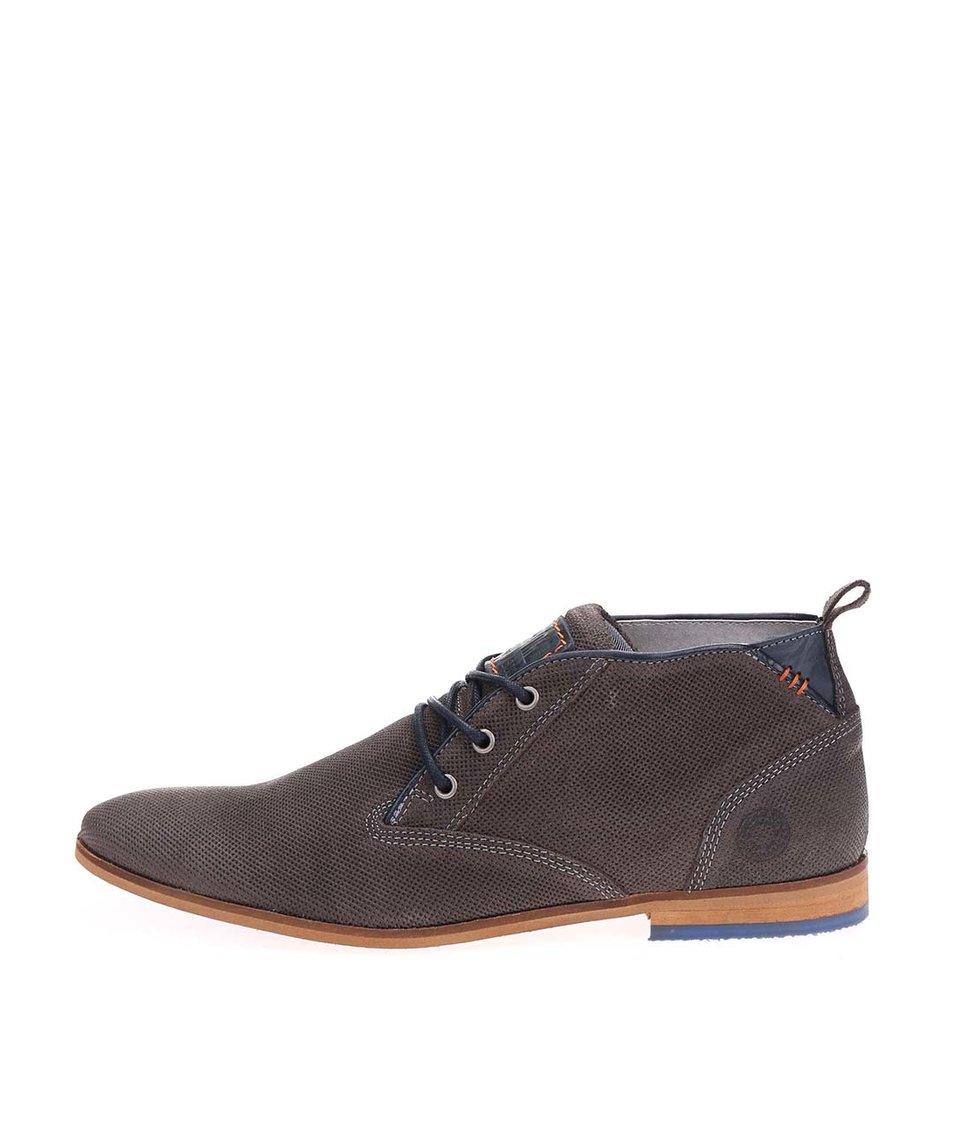 Tmavě šedé pánské kožené kotníkové boty Bullboxer