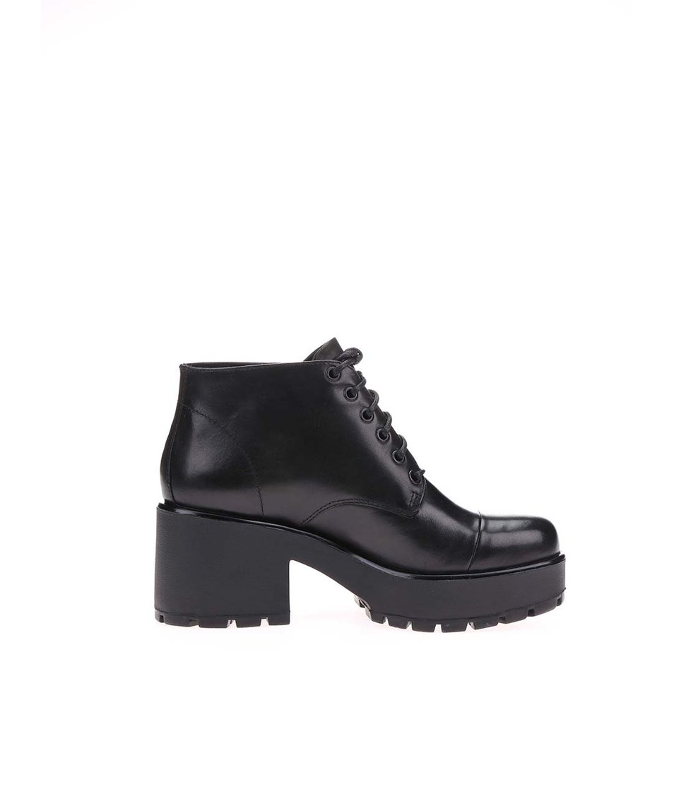 Černé dámské kožené kotníkové boty na platformě Vagabond Dioon