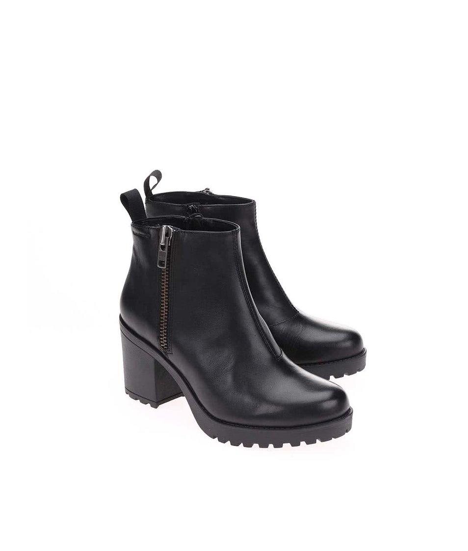 Černé dámské kožené kotníkové boty na podpatku se zipem Vagabond Grace