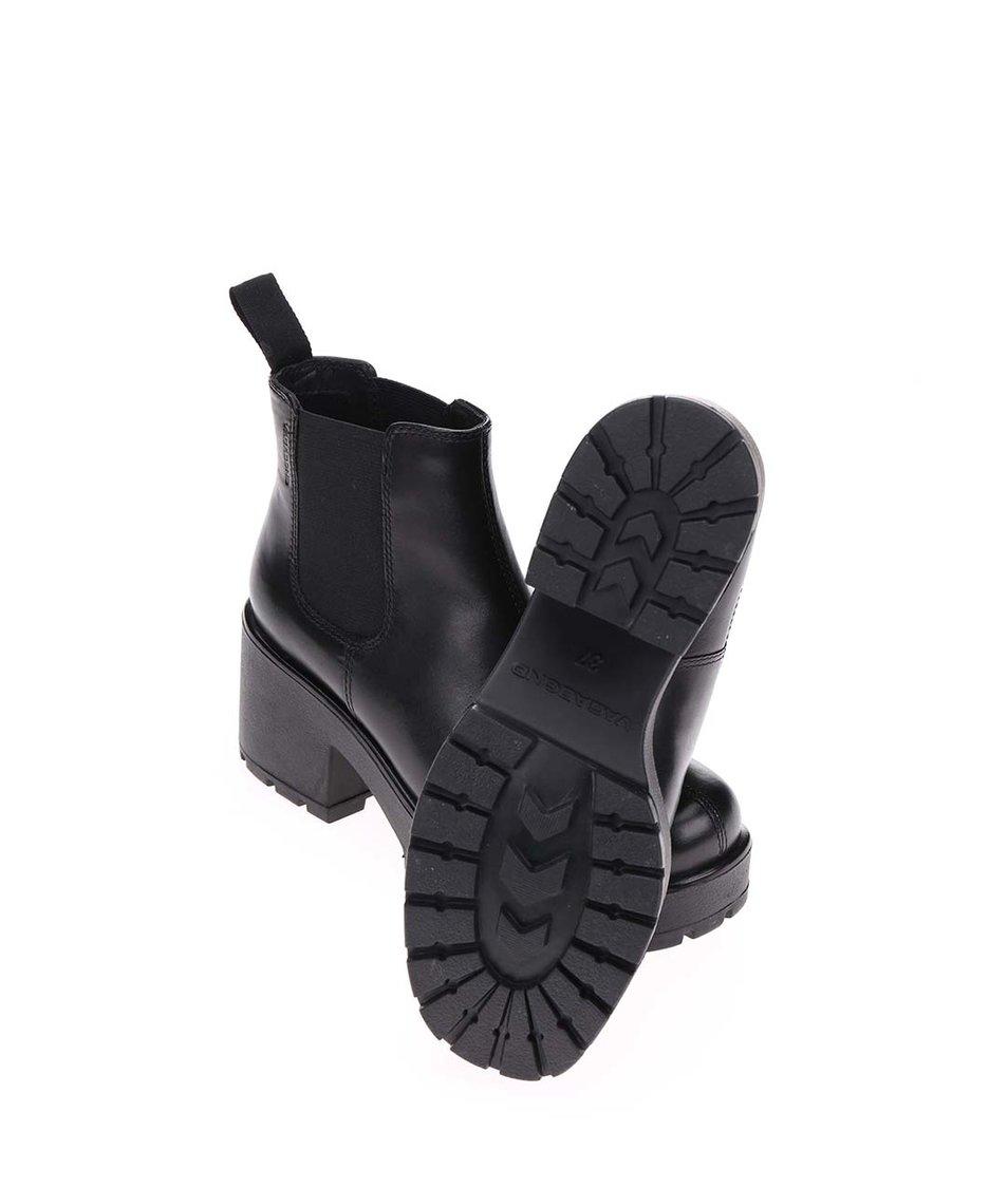 Černé dámské kožené chelsea boty na platformě Vagabond Dioon