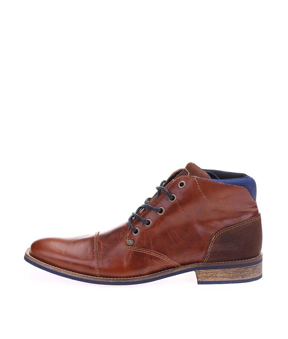 Hnědé pánské kožené kotníkové boty s modrými detaily Bullboxer
