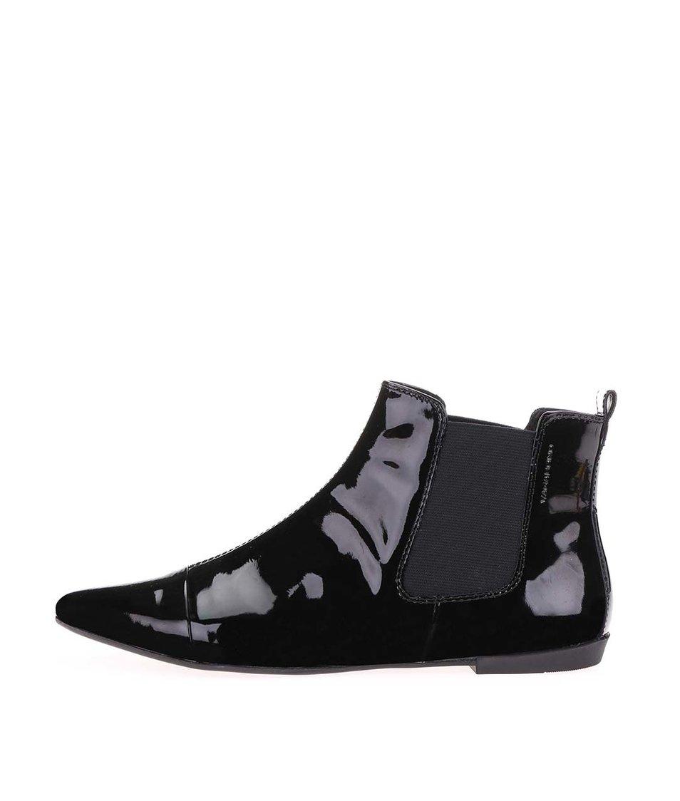 Černé dámské kožené lesklé chelsea boty Vagabond Aya