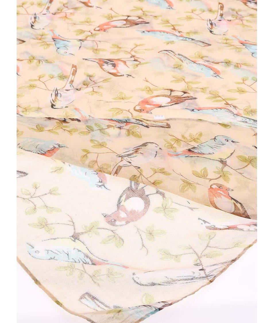 Krémový šátek se vzorem ptáčků Joe Cool