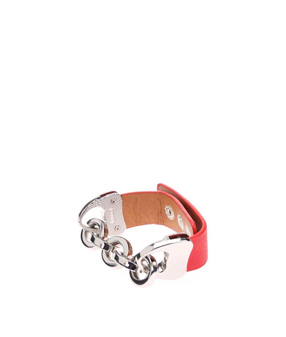 Červený náramek s řetízkem ve stříbrné barvě Joe Cool