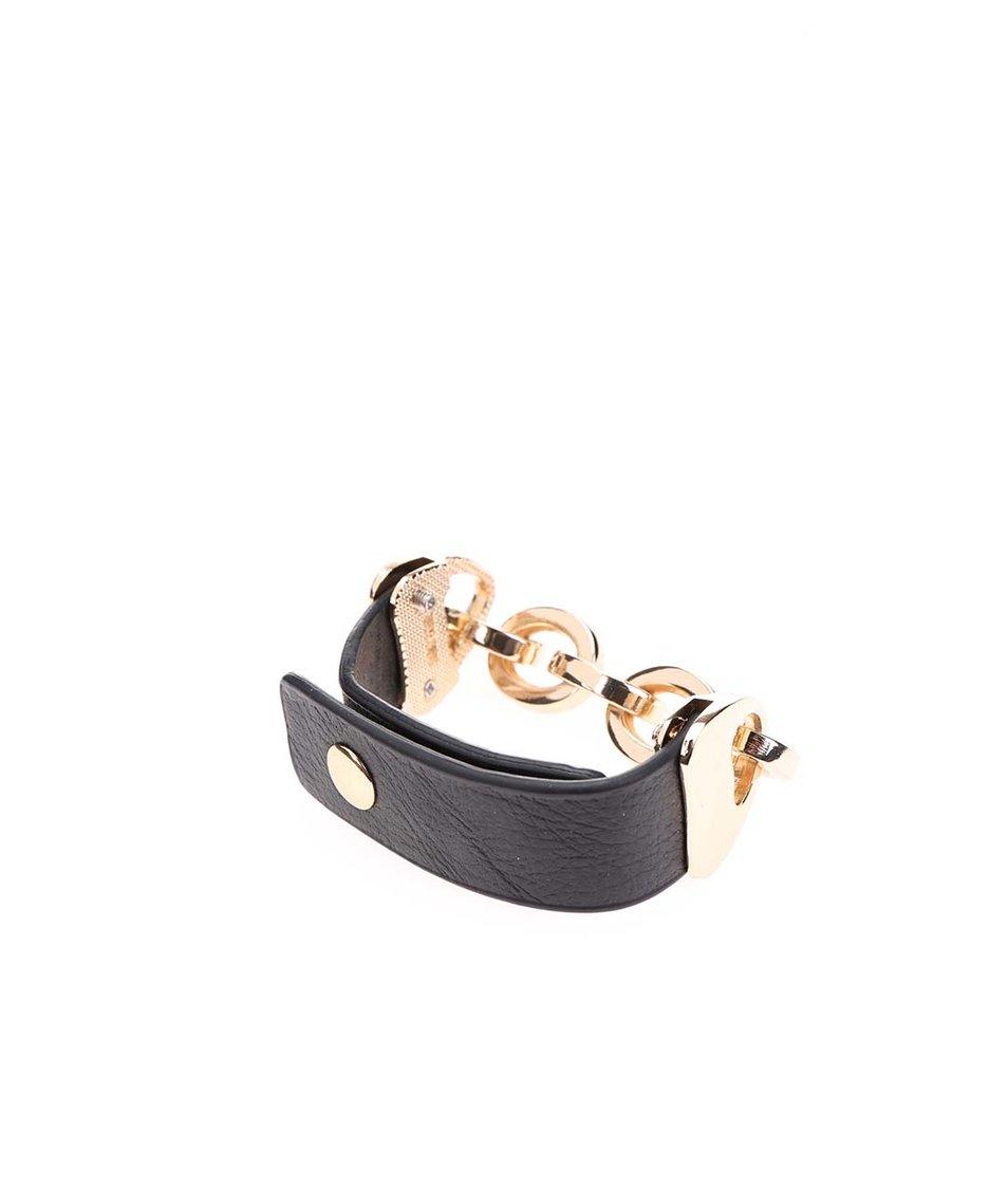Černý náramek s řetízkem ve zlaté barvě Joe Cool