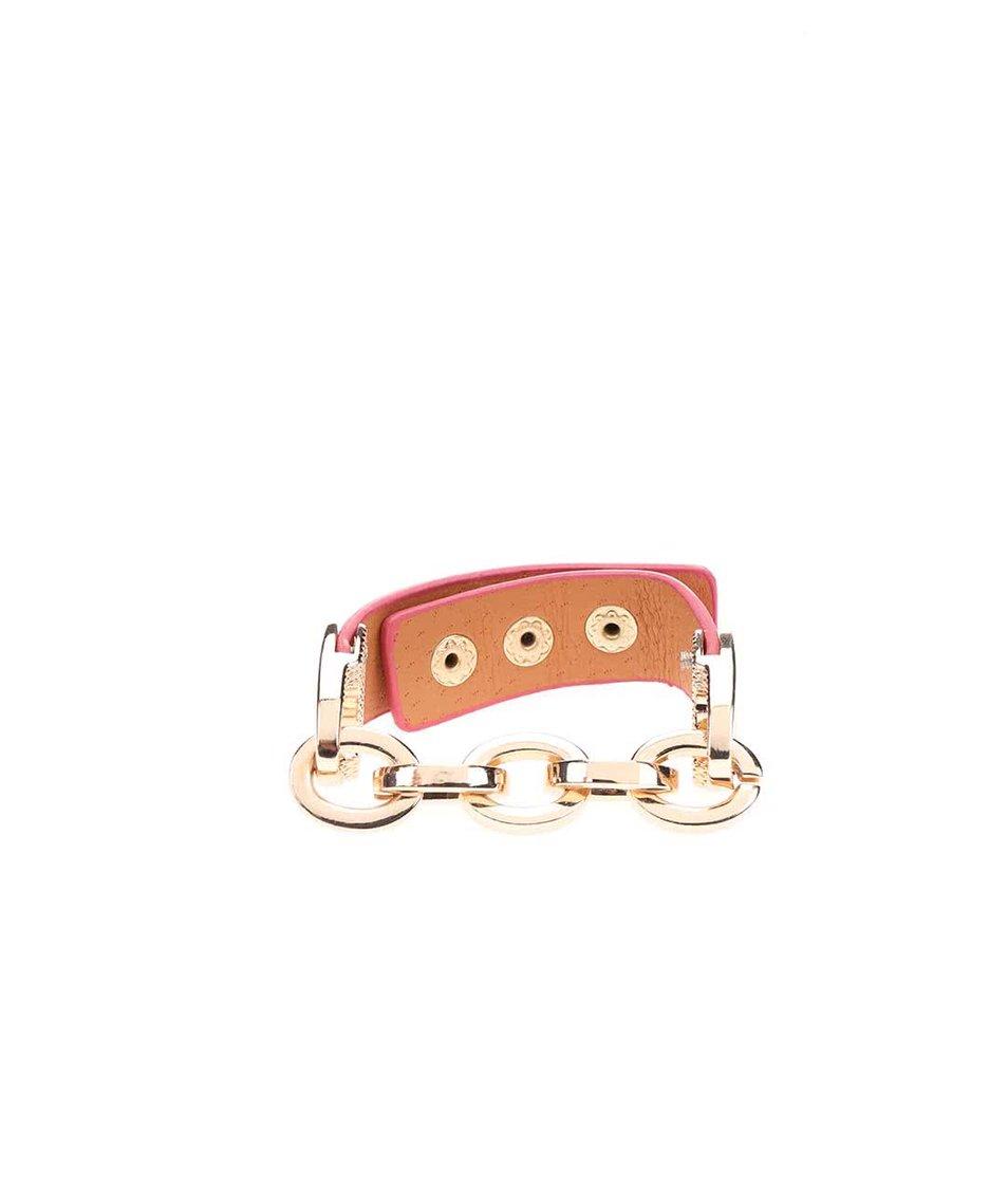Růžový náramek s řetízkem ve zlaté barvě Joe Cool