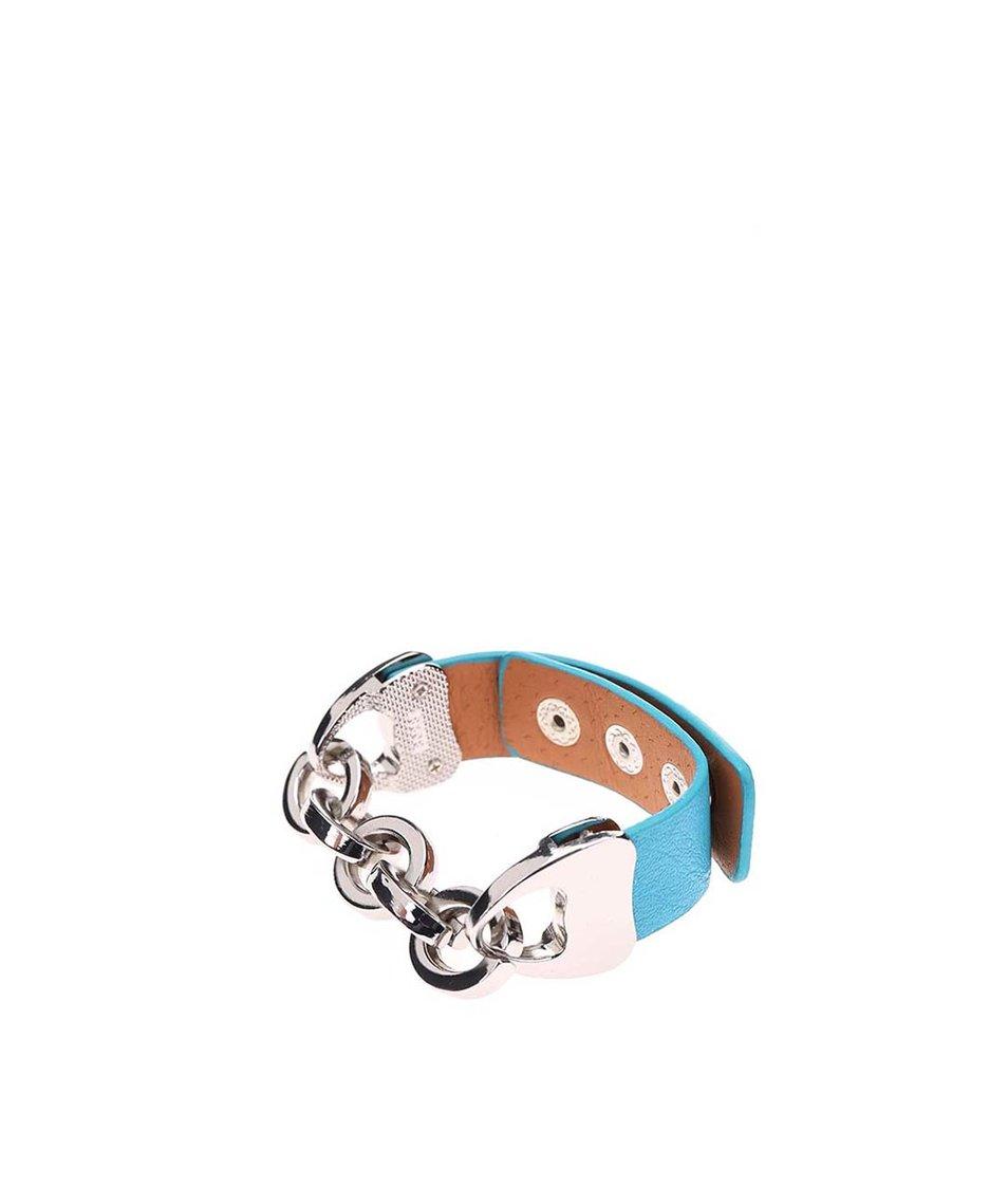 Tyrkysový náramek s řetízkem ve stříbrné barvě Joe Cool