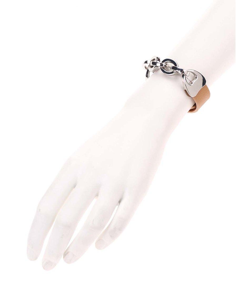 Hnědý náramek s řetízkem ve stříbrné barvě Joe Cool