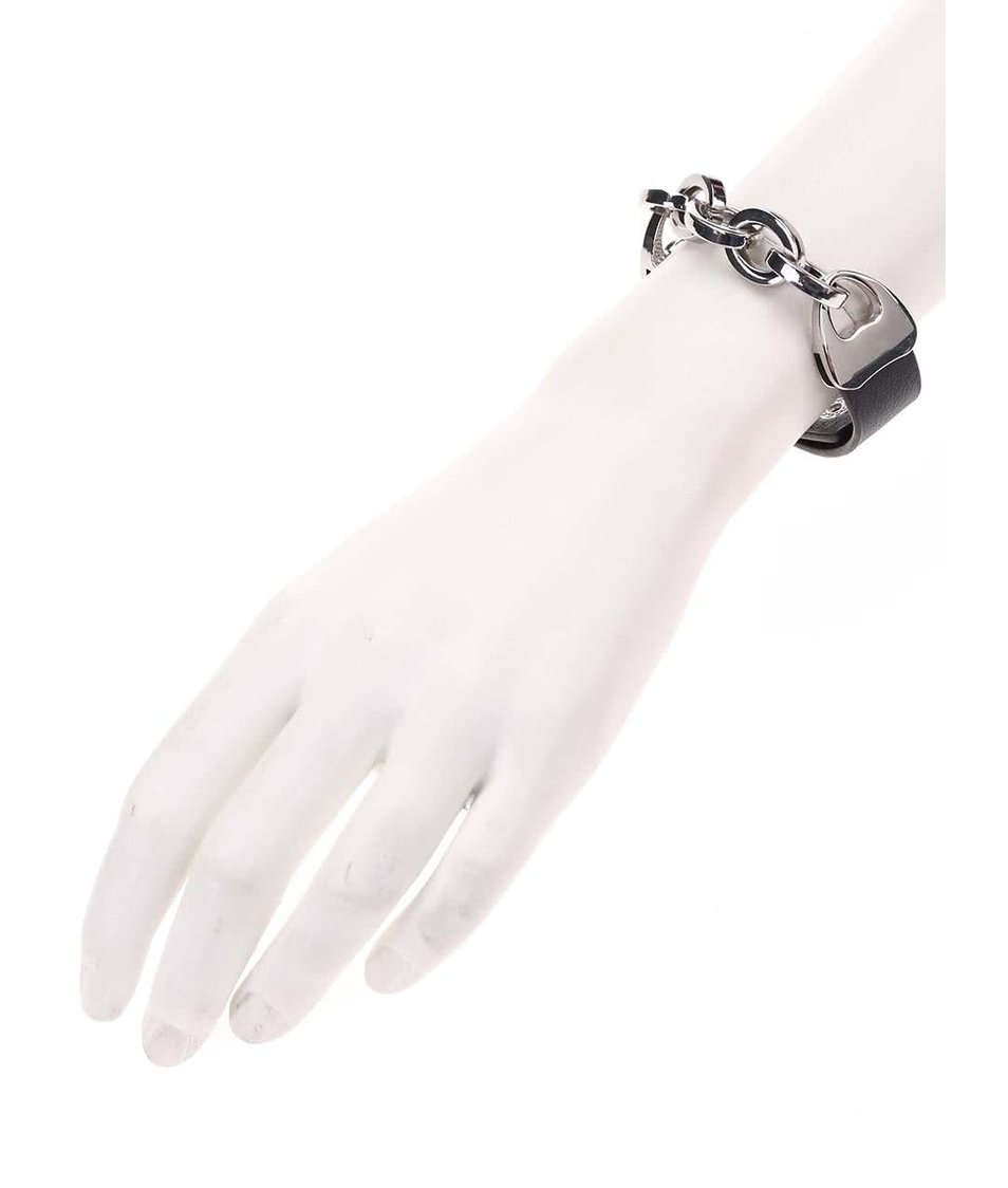 Černý náramek s řetízkem ve stříbrné barvě Joe Cool