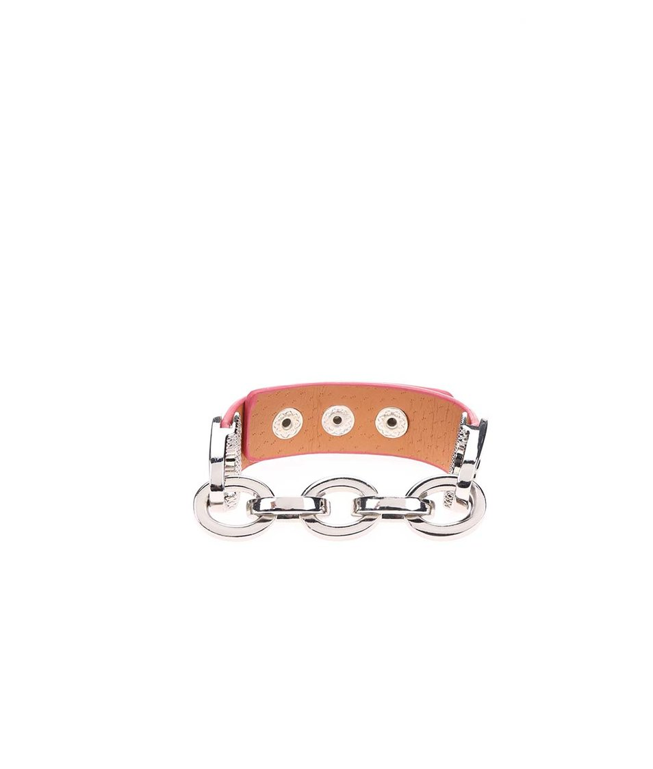 Růžový náramek s řetízkem ve stříbrné barvě Joe Cool