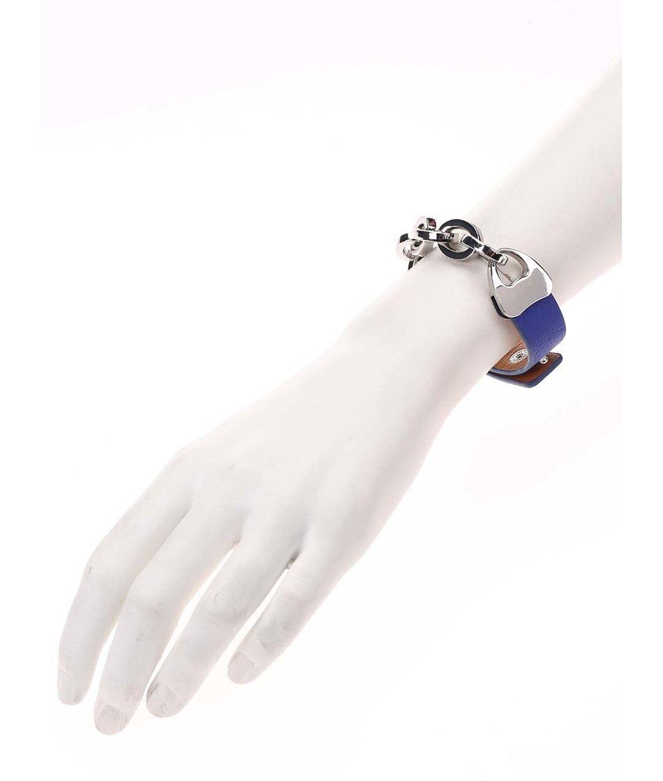 Tmavě modrý náramek s řetízkem ve stříbrné barvě Joe Cool