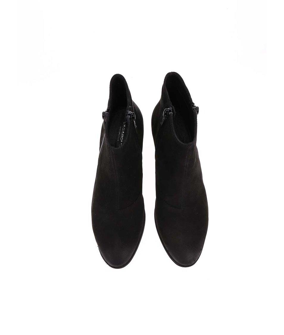Černé dámské kožené kotníkové boty na podpatku Vagabond Yarin