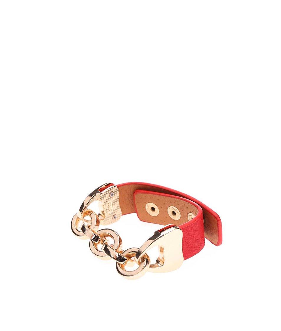 Červený náramek s řetízkem ve zlaté barvě Joe Cool